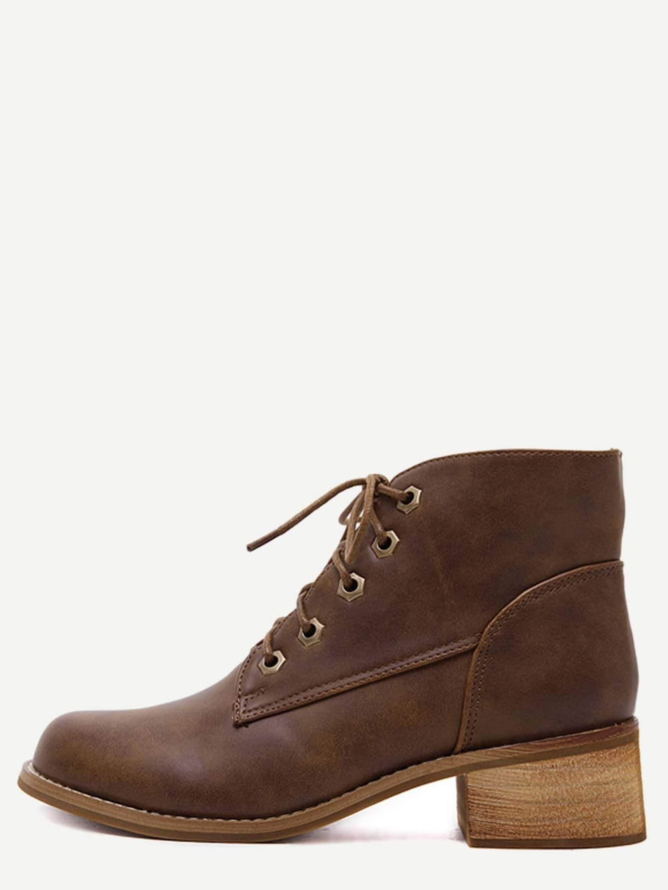 brown faux leather lace up cork heel boots