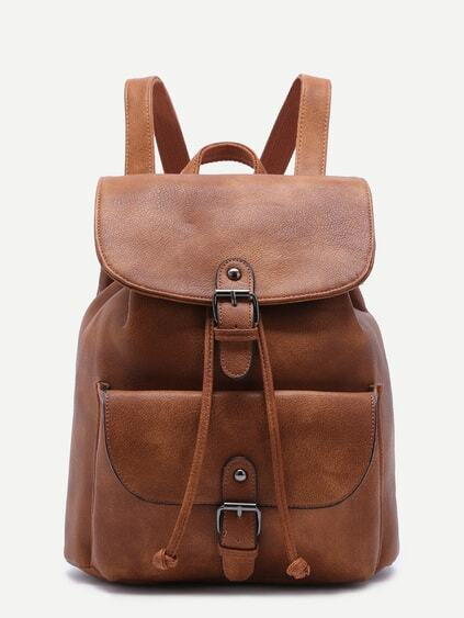 Khaki PU Buckle Strap Drawstring Flap Backpack