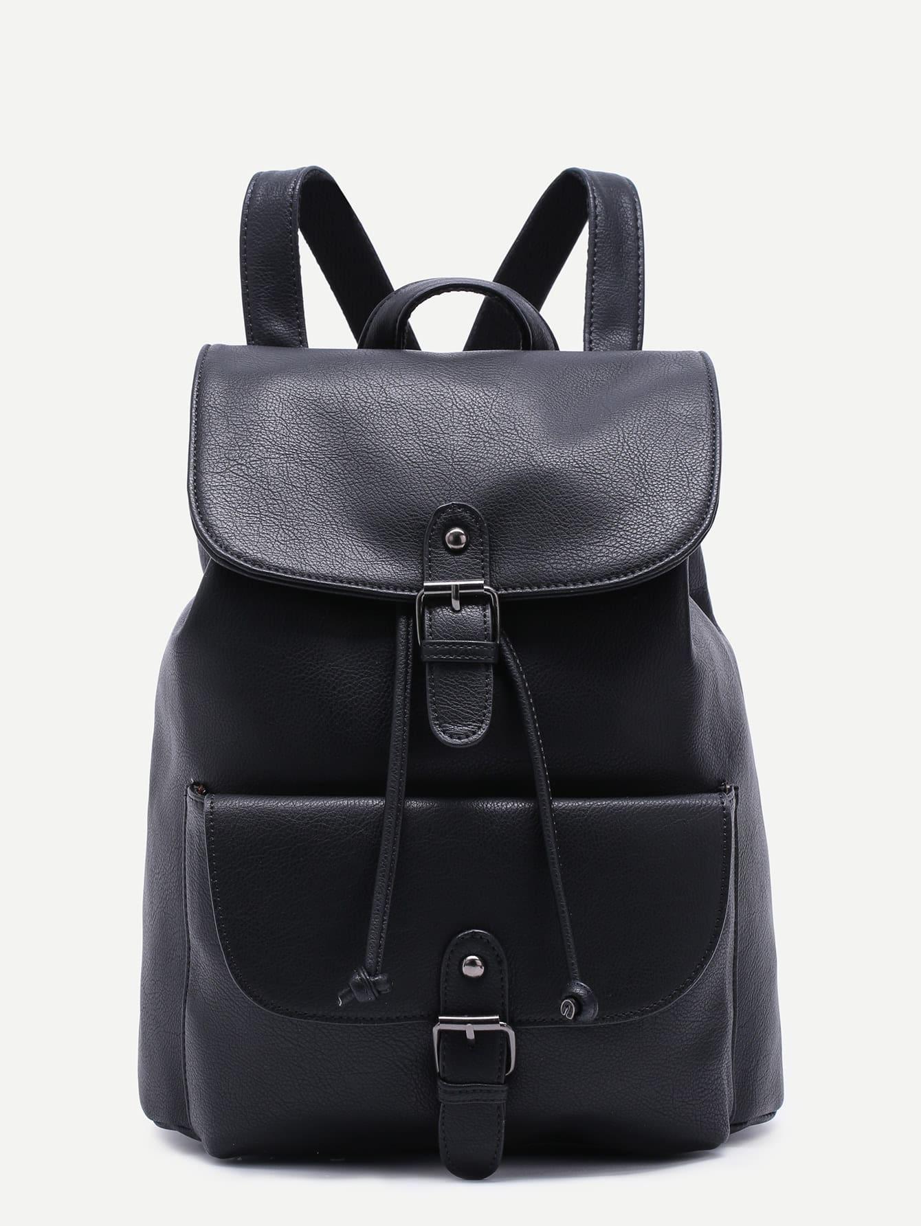 Black Pu Buckle Strap Drawstring Flap Backpack