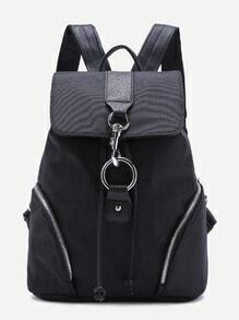 Casual Black Drawstring Flap Nylon Backpack