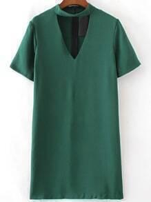 Green Choker V Neck Short Sleeve Dress