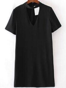 Vestido escote V con gargantilla de manga corta - negro