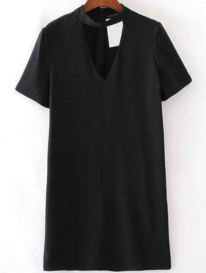 Black Choker V Neck Short Sleeve Dress