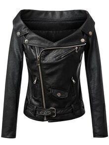 Black Boat Neck Oblique Zipper PU Moto Jacket With Belt
