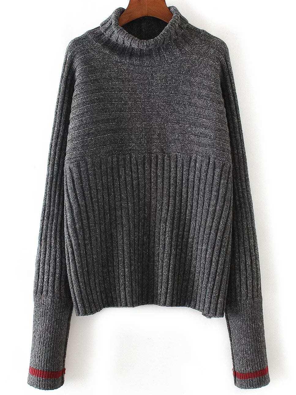 Dark Grey Turtleneck Contrast Cuff Ribbed Sweater sweater161014201