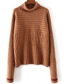 Khaki Turtleneck Contrast Cuff Ribbed Sweater