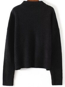 Black Crew Neck Drop Shoulder Knitwear