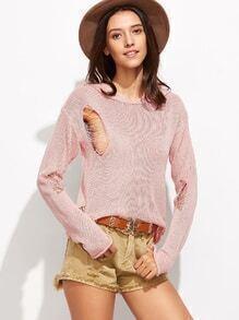 Jersey con capucha y roturas - rosa