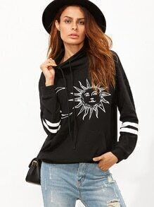 Black Graphic Print Funnel Collar Striped Sleeve Sweatshirt