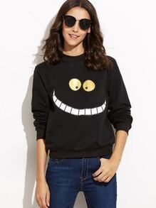 Black Smiley Face Print Sweatshirt