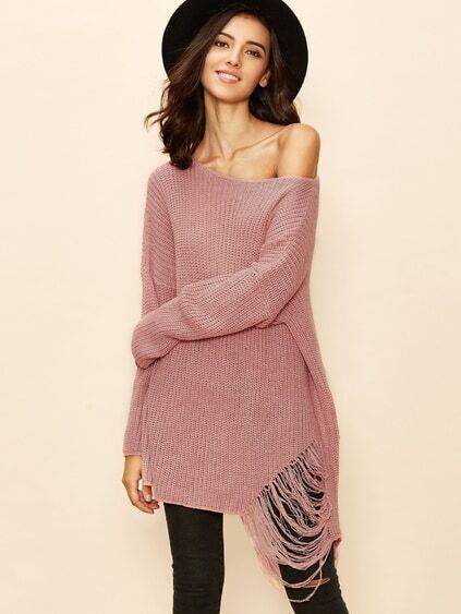 Pink Boat Neck Drop Shoulder Ripped Sweater