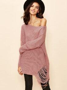 zerrischen Sweater Tropfen Schluter Boot-Ausschnitt- rosa