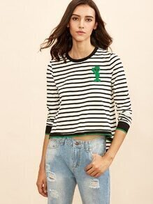 White Striped Ringer T-shirt With Alien Patch