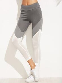 Leggings con cintura ancha color combinado