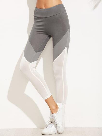 Leggins con cintura ancha color combinado