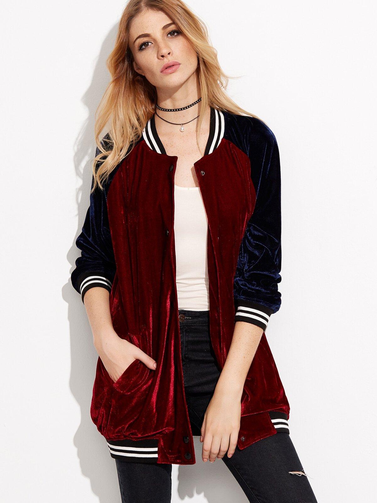 葡萄紅 對比色 連肩袖 絨面 飛行外套