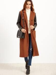 Brick Red Double Breasted Contrast Faux Leather Sleeve Coat