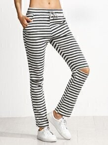 Grey And White Striped Knee Ripped Drawstring Jersey Pants