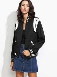 Black Contrast Panel Button Up Varsity Jacket