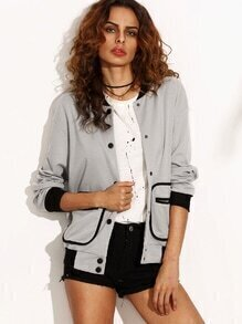 Grey Contrast Trim Binding Pocket Button Up Baseball Jacket