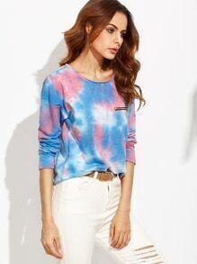 Blue Pastel Tie Dye Drop Shoulder Zip Detail T-shirt