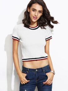 White Striped Trim Ribbed T-shirt