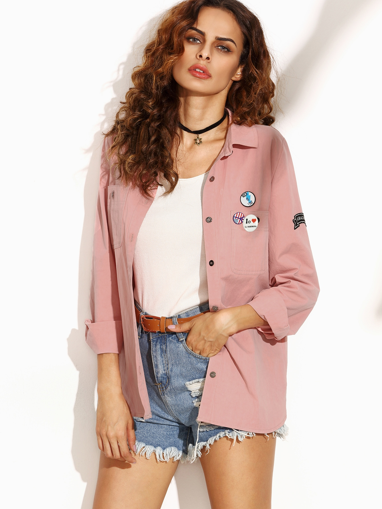 Pink Letter Print Shirt Jacket With Badge Detail