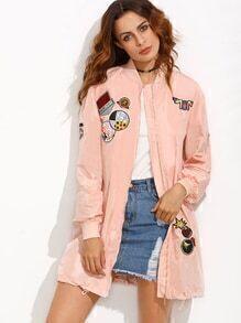 Chaqueta larga patchwork bolsillo - rosa