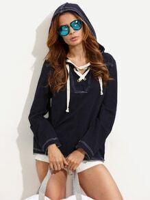 T-shirt à capuche manche longue avec lien de serrage - bleu marine