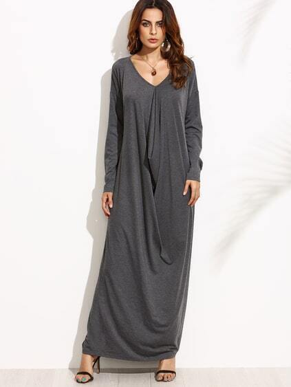 Heather Grey Drop Shoulder Draped Cocoon Dress