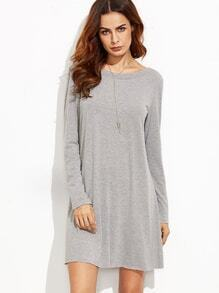 Heather Grey V Back Tee Dress