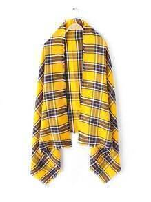Yellow Plaid Frayed Trim Scarf