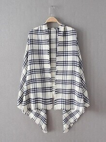 White Plaid Frayed Trim Scarf