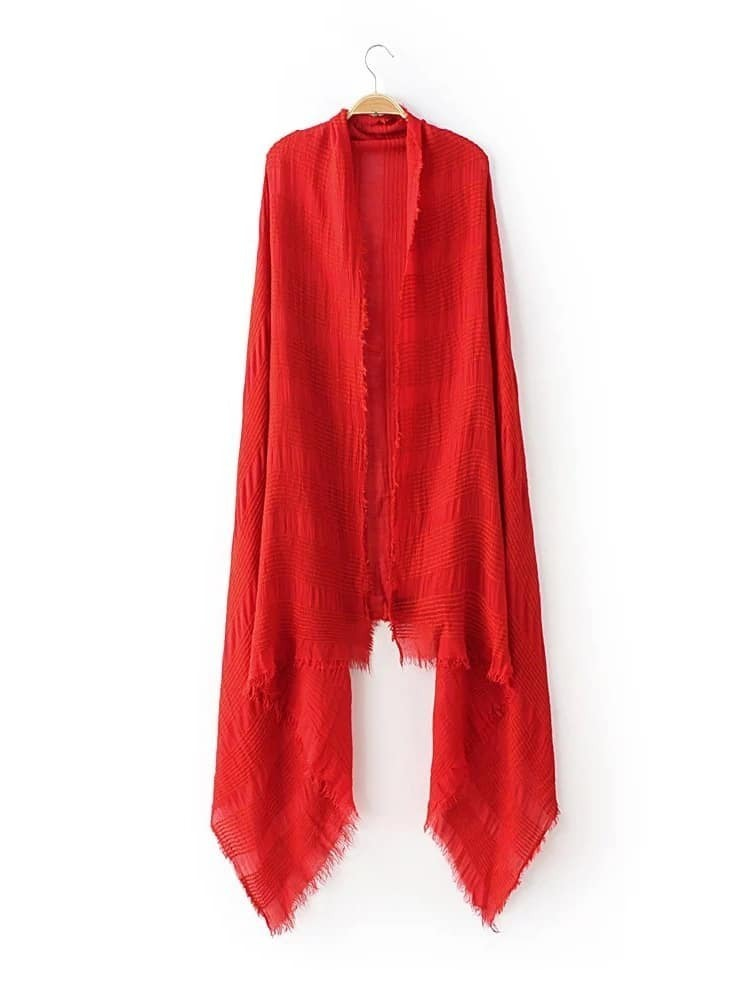 Red Raw Edge Striped Textured Scarf