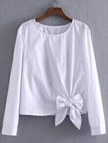 White Flower Embroidered Bow Tie Hem Blouse