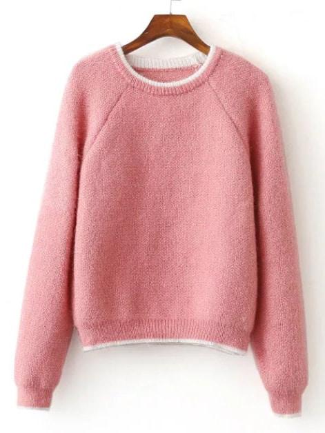 Pink Contrast Trim Raglan Sleeve Mohair Sweater