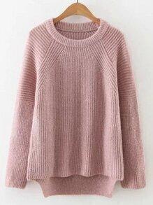 Jersey asimétrico de manga raglán - rosa