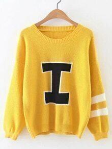 Jersey con estampado universitario y hombro caído - amarillo