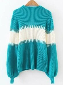 Color Block Lantern Sleeve Ribbed Sweater