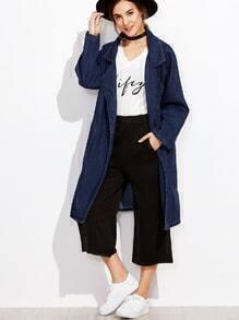 Dark Blue Raglan Sleeve Denim Coat With Pockets