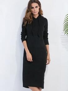 Robe sweat-shirt avec capuche et lacet - noir
