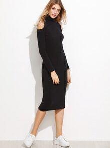 Black Turtleneck Cut Out Shoulder Ribbed Dress
