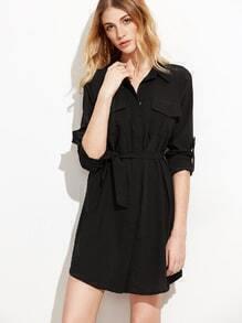 Robe chemise manche enroulée avec lacet - noir