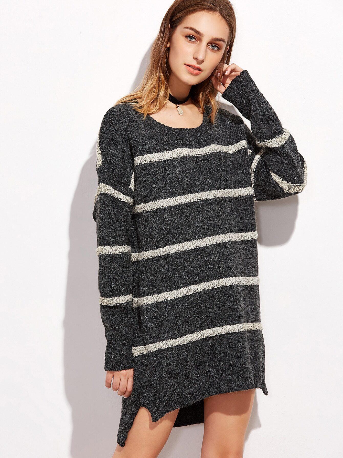 Dark Grey Striped Slit Side High Low Sweater Dress dress161010001