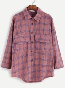 Drop Shoulder Plaid Dual Pocket Front Button Shirt