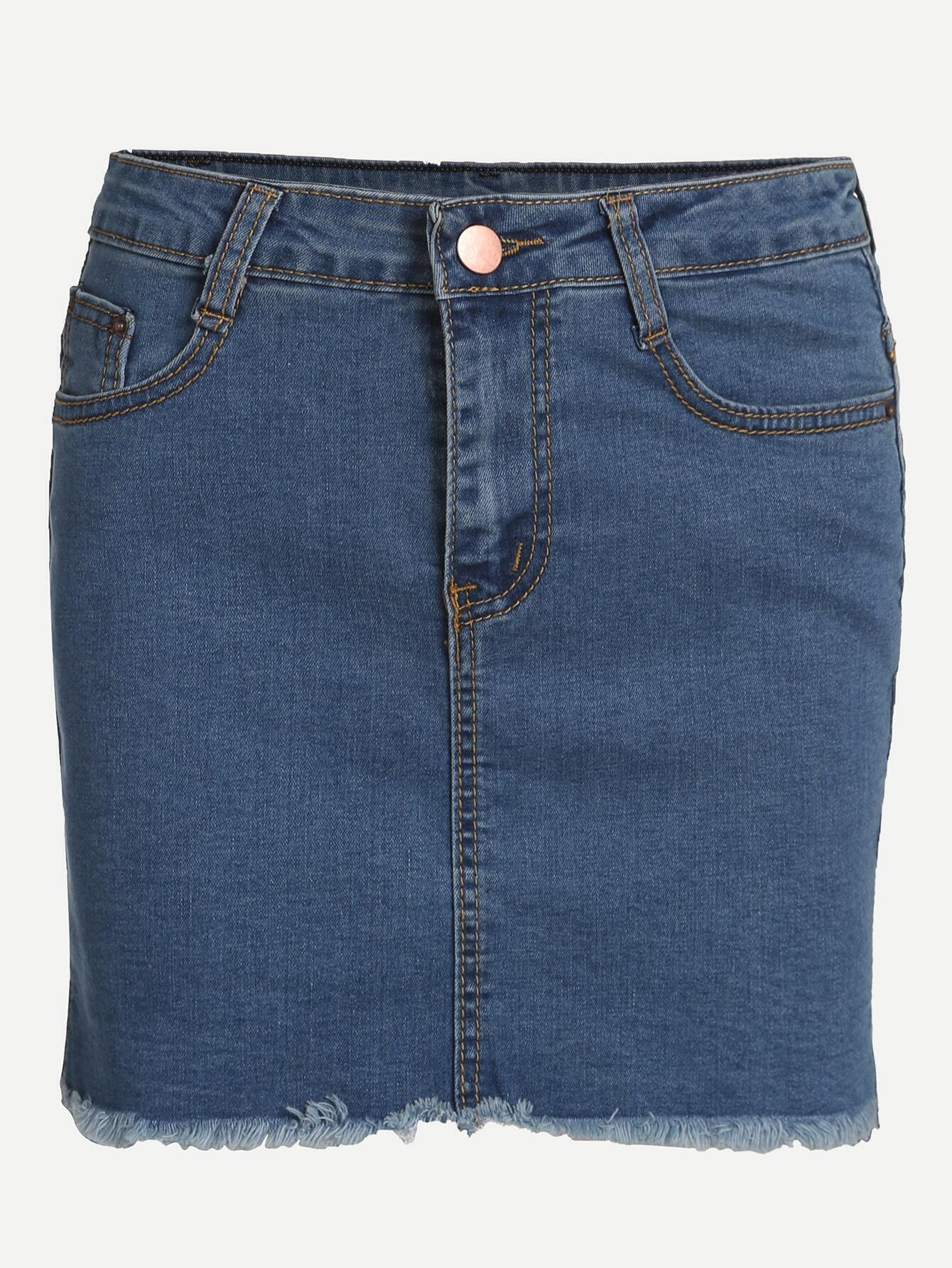 blue fray hem high low denim skirt