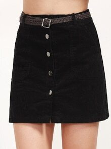Black Corduroy Single Breasted Pockets Skirt With Belt