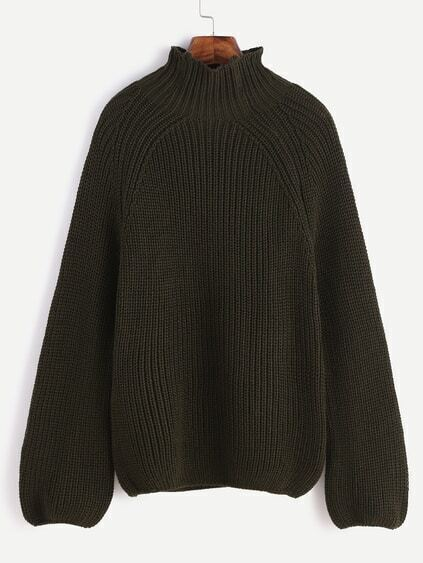Dark Green Turtleneck Loose Sweater