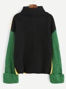 Jersey con cuello alto y hombros caídos - color combinado
