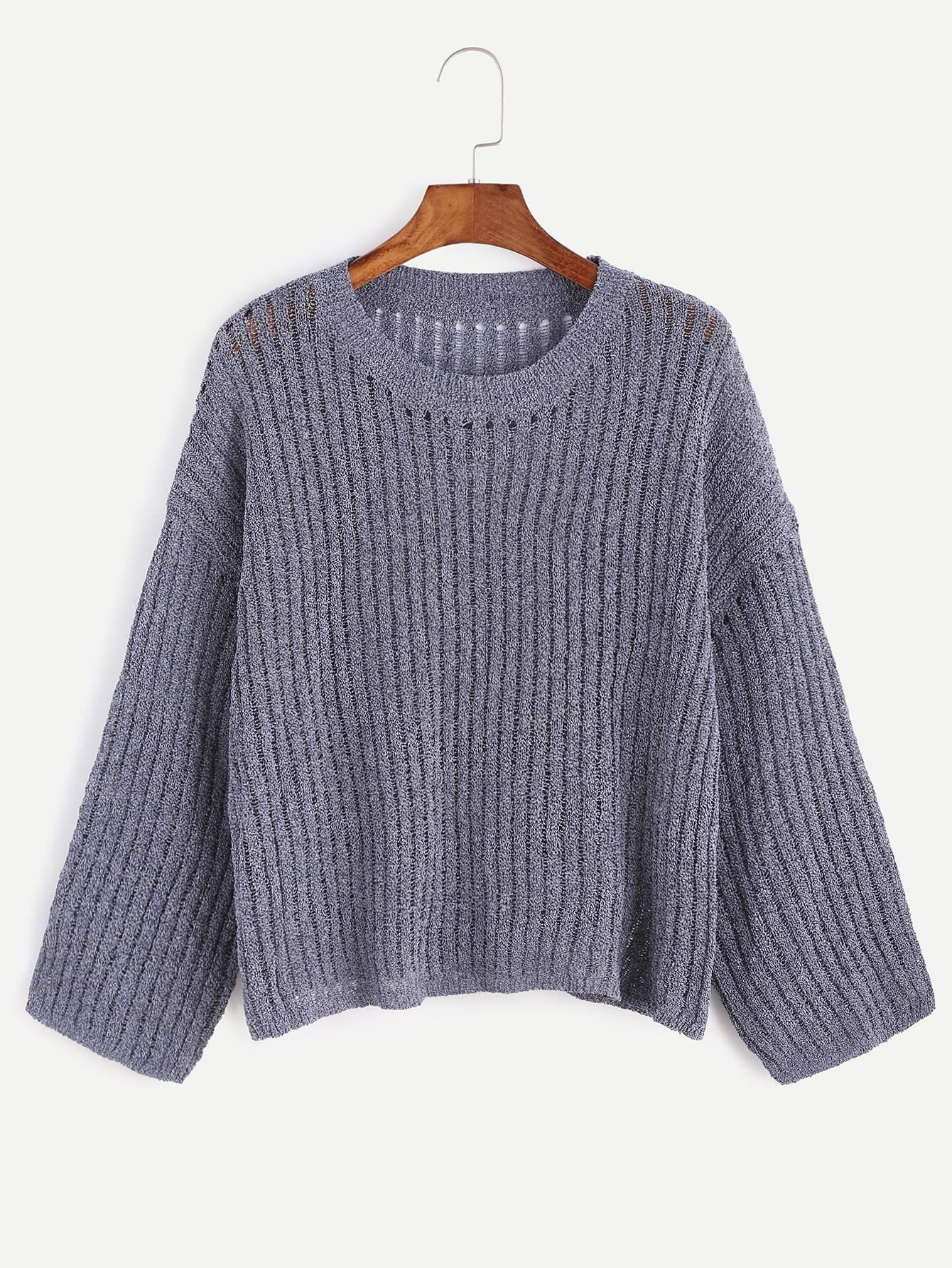 Dropped Shoulder Seam Ribbed Knit Sweater RKNI161017105